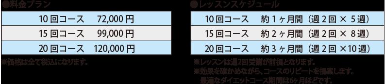 ダイエットコース料金プラン・スケジュール